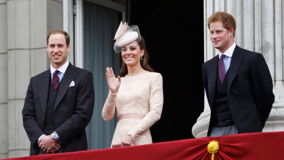 Кейт Мидълтън, съпругът й принц Уилям и брат му принц Хари