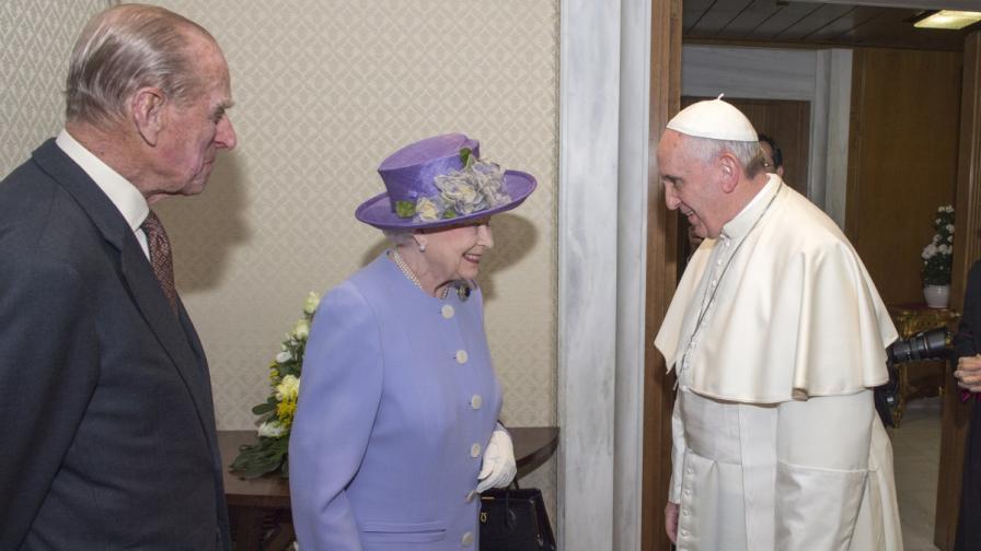 Кралица Елизабет II с папа Франциск I