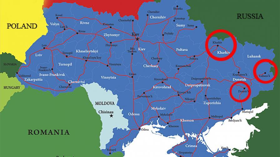 Самопровъзгласилата се Луганска народна република е в най-източната част на Украйна