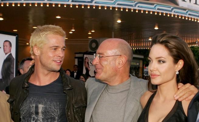 """Анджелина Джоли и Брад Пит на премиерата на """"Мистър и Мисис Смит"""" през 2005г."""