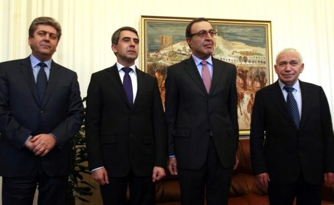 Росен Плевнелиев с другите трима президенти на Република България - Желю Желев (1990-1997), Петър Стоянов (1997-2002) и Георги Първанов (2002-2012)
