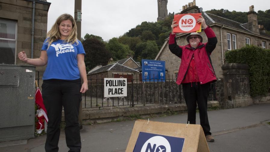 Шотландци с противоположни мнения в деня на референдума