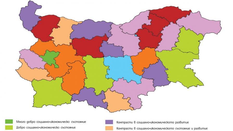 Изследването разграничава осем типа регионални профили, в които се вижда растящата рaстящата разлика между Северна и Южна България