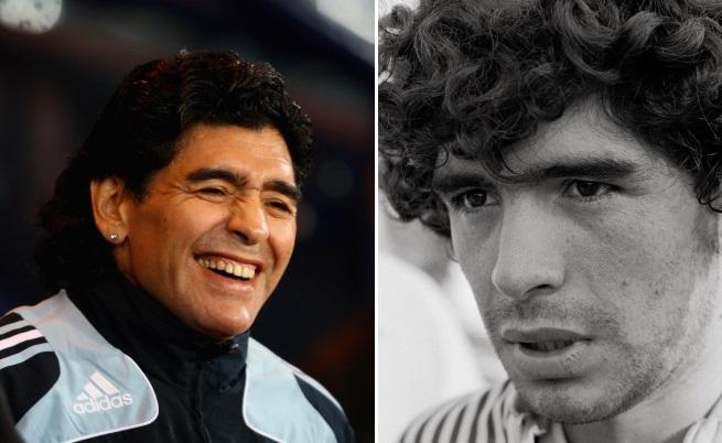Ето как е изглеждал Марадона през 2010 г. (вляво) и през 1982 г. (вдясно)