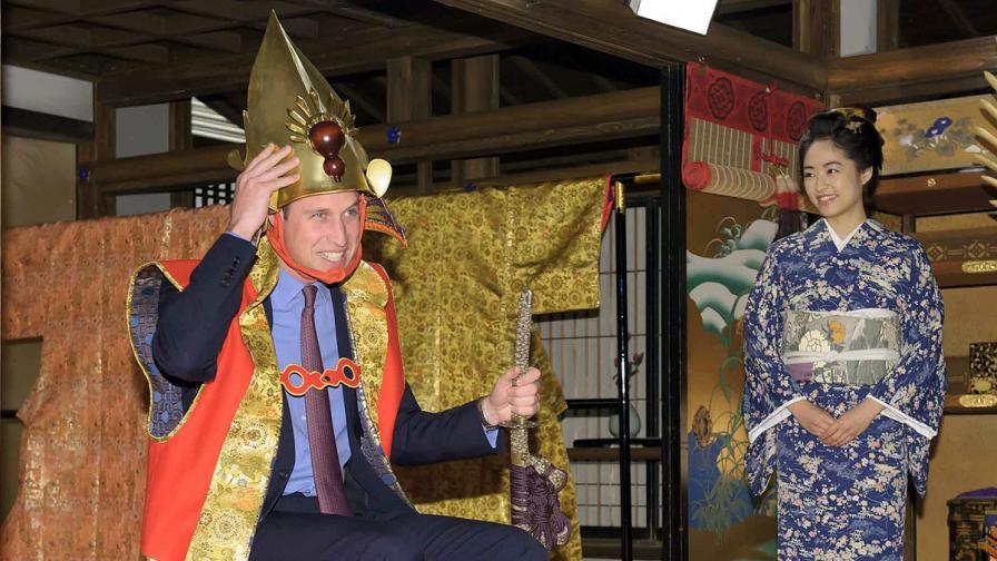Принц Уилям се появи като самурай в японска телевизия