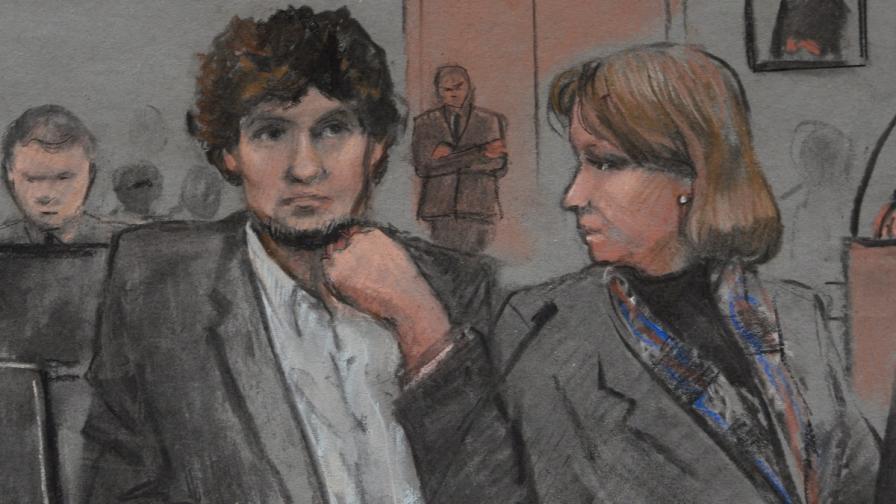 Рисунка на Джохар Царнаев в съда