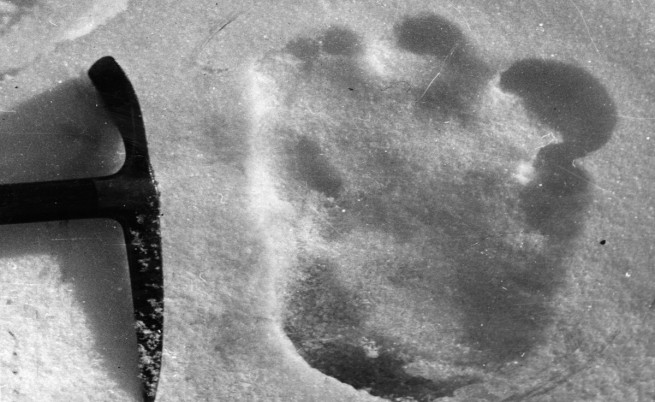 Снимка на отпечатък от стъпалото на Йети, направена на 13 декември 1951 г. близо до Еверест