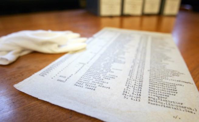 Копие на истинския списък на Оскар Шиндлер