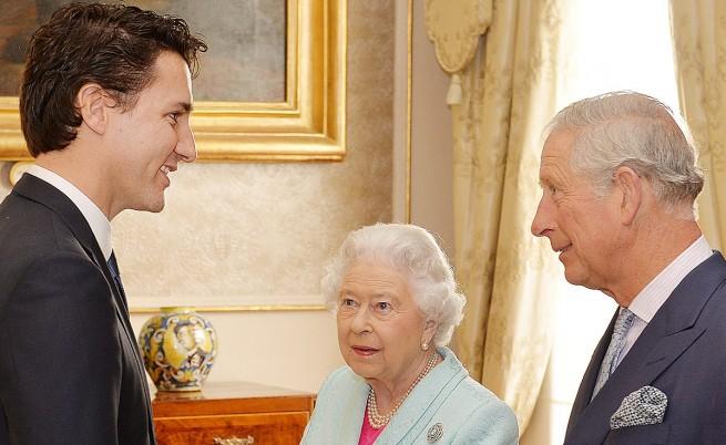 Джъстин Трюдо, кралица Елизабет II и принц Чарлз