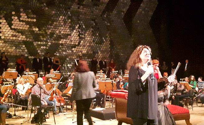 Любка Биаджони по време на репетицията в зала 1 на НДК