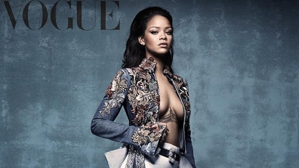 Риана за корицата Vogue с обувки по свой дизайн