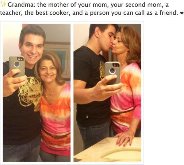 Дамата до момчето е... неговата баба