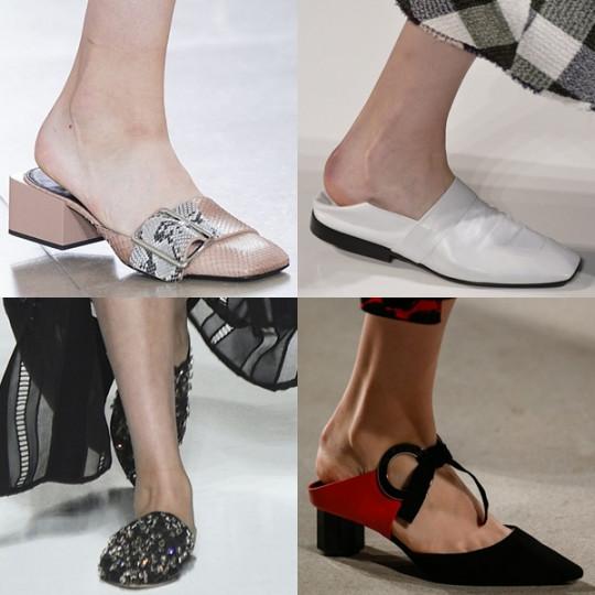Чехли със затворени върхове: отпред изглеждат като класически затворени обувки, но отзад са с отворена пета. Голям хит при Gucci и Jil Sander. Идеални за офис облекло.