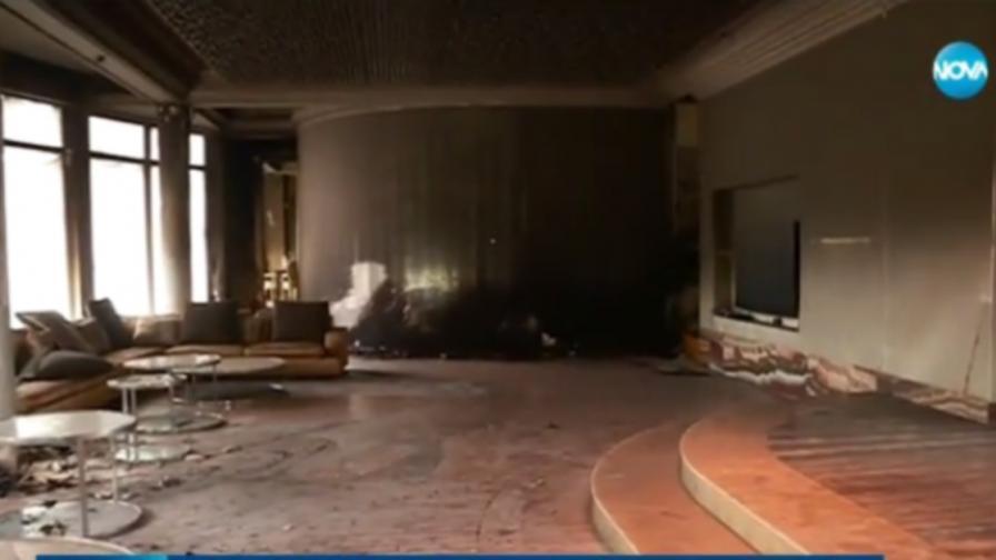 Опожареният луксозен дом на Баневи (видео)