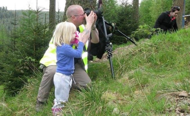 Реджина като малка със своя баща по време на снимки