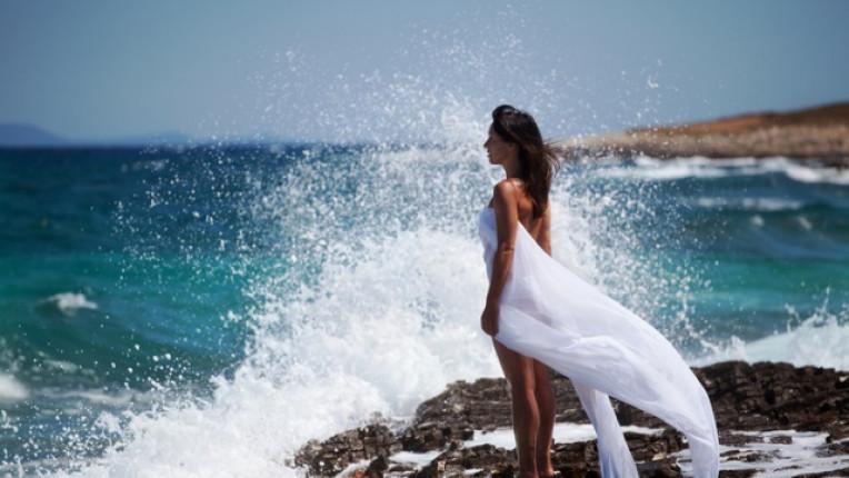 жена море красота