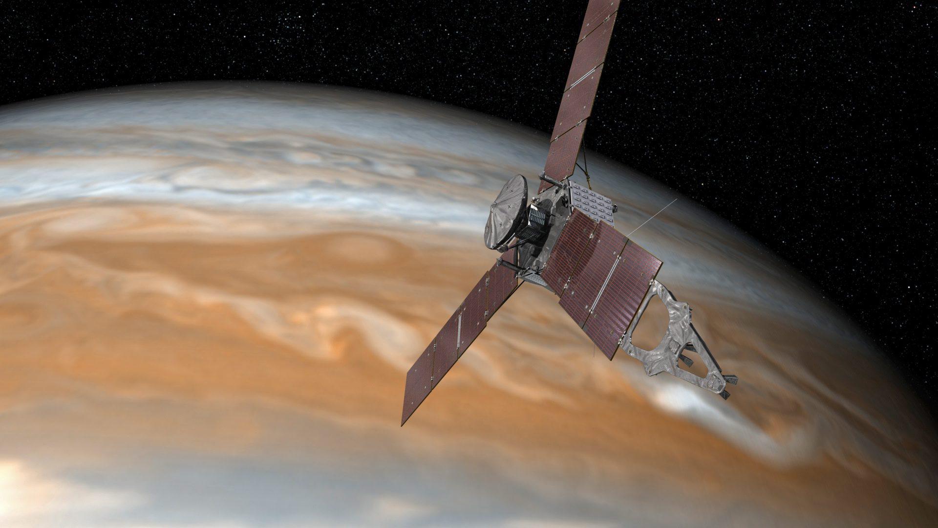"""Изследването на Слънчевата система стана много интересно през юли, когато американската сонда """"Джуно"""" застана на орбита около Юпитер след продължило пет години пътуване. В края на август """"Джуно"""" осъществи първото си близко прелитане край планетата, преминавайки на безпрецедентните около 4200 км над плътните облаци на газовия гигант.НАСА вече публикува <a href=""""http://www.vesti.bg/tehnologii/nauka-i-tehnika/eto-gi-pyrvite-snimki-na-iupiter-ot-nasa-6056239"""" target=""""_blank"""">снимки</a> на полюсите на Юпитер, заснети от космическия апарат.""""Джуно"""" записа и звуци, идващи от Юпитер."""