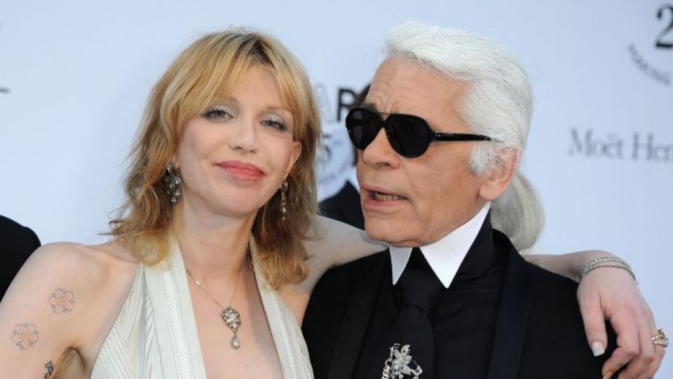 """Карл Лагерфелд с вдовицата на Кърт Кобейн – друга """"голяма уста"""""""