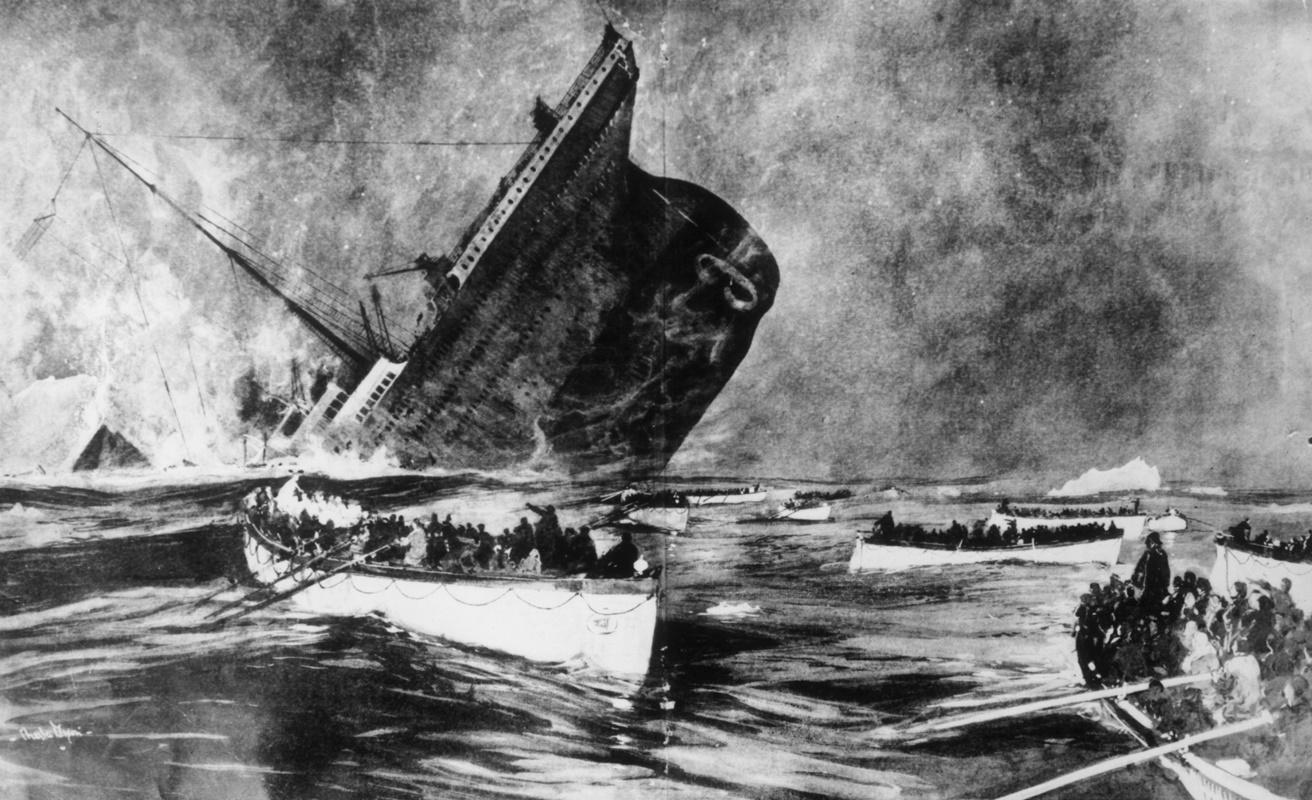 """Потъването. Оцелелите наблюдават от спасителните лодки как """"Титаник"""" потъва пред очите им."""