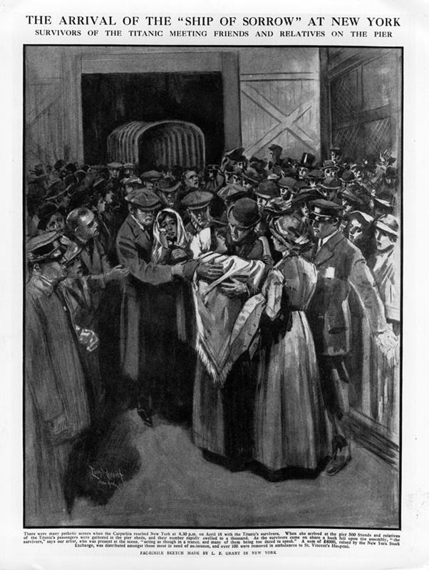 """4 май 1912 г. - оцелелите, спасени от кораба """"Карпатия"""", пристигат в Ню Йорк."""