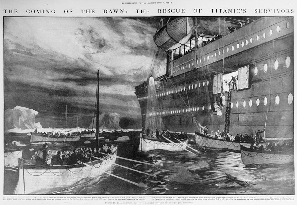"""Корабът """"Карпатия"""" пристига на мястото, от което е подаден сигнала за помощ."""