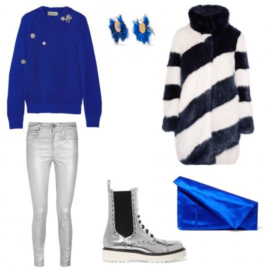 Топъл стайлинг за снежна Нова година: Специално за почитателите на снежните новогодишни нощи, предлагам топла визия с пуловер, дънки и кубинки. Заложете на синьо, сребристо и бяло, за да се впишете максимално в зимната приказка около вас.