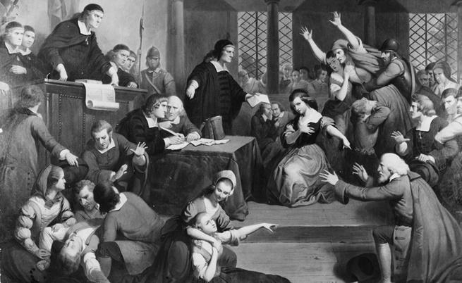 1692 г., в съдебната зала настава хаос по време на процеса на вещица