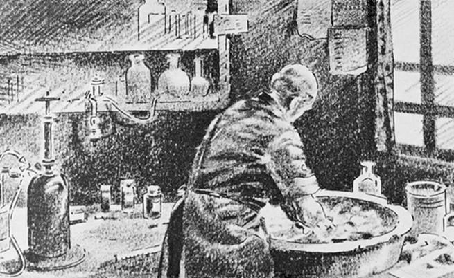 Д-р Земелвайс мие ръцете си преди операция