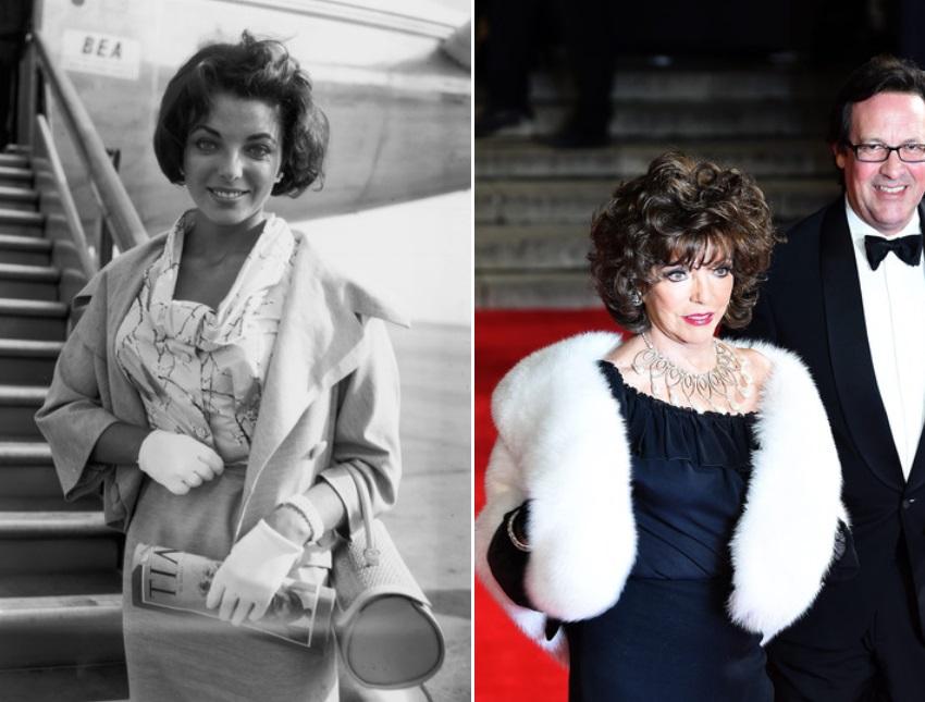 Джоан Колинс през 1957 г. и през 2017 г.