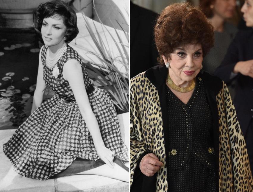 Джина Лолобриджида през 1957 г. и днес