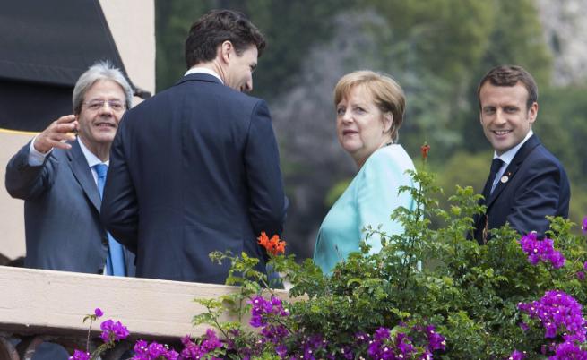 Ангела Меркел разговаря с Джъстин Трюдо, Емнаюел Макрон и премиера на Италия Паоло Джентилони