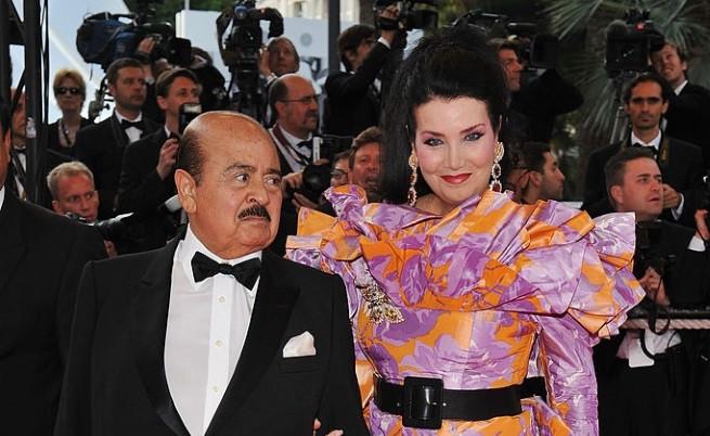 Аднан Хашоги с втората си съпруга на фестивала в Кан, 2008 г.