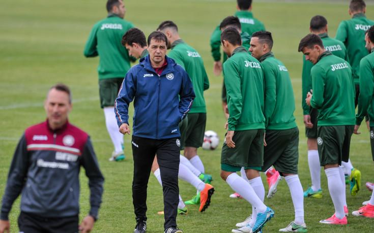Тренировката на националния отбор преди мача в Беларус