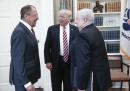 Сергей Кисляк (дясно) на среща с американския президент Доналд Тръмп (среда) и руският външен министър Сергей Лавров
