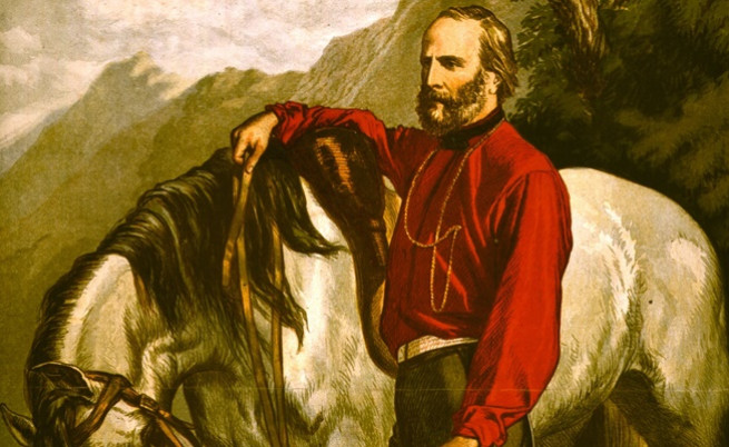 Гарибалди с типичната червена риза