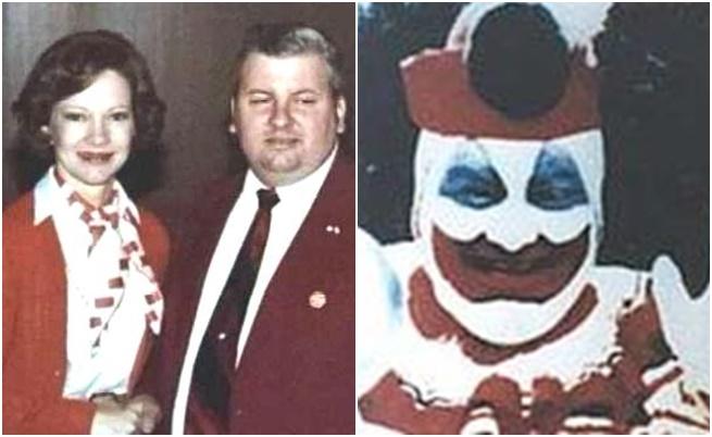 Джон Гейси до първата дама Розалин Картър/ Джон Гейси облечен като клоун за детско парти.