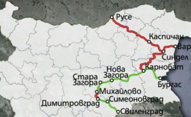ЖП-коридорът към Солун в българската му част. В червено са участъците, които трябва да се изградят и модернизират