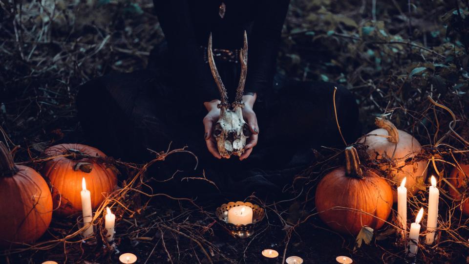 вещица хелоуин тикви череп магьосница