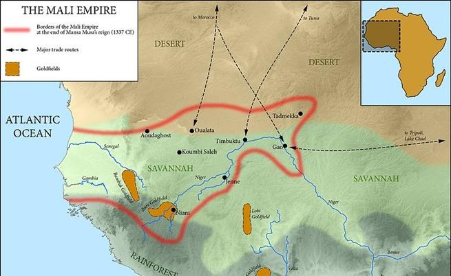 Как е изглеждала Малийската империя върху картата в годините около смъртта на Муса I
