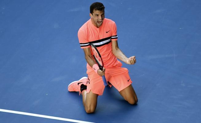Григор Димитров бие в Австралия, на 1/8-финал е