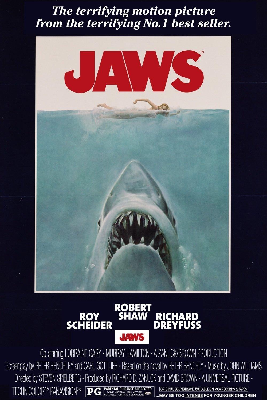 """2.""""Челюсти"""" (комерсиален филм) – Освен че създава концепцията зад модерното понятие """"блокбъстър"""", """"Челюсти"""" задава стандартите и в жанровете на филми за чудовища и филми на ужасите със своето заредено със съспенс действие. Саундтракът на Джон Уилямс е легендарен, а лентата се превръща в най-печелившия филм на всички времена до излизането на """"Междузвездни войни""""."""