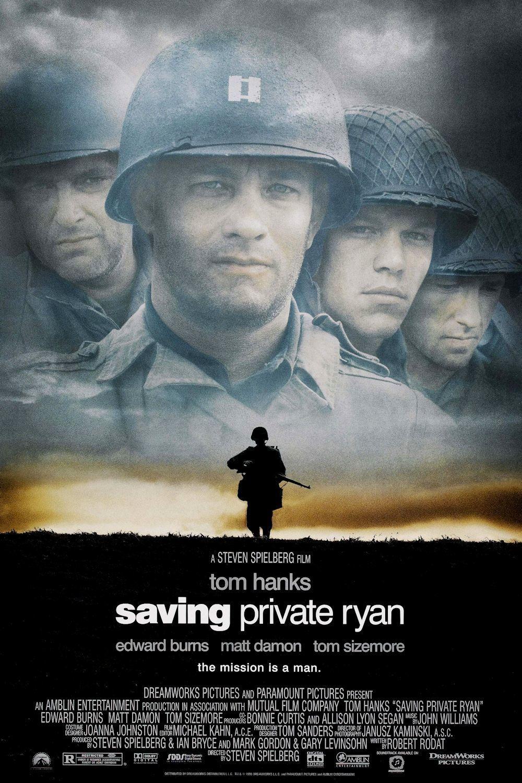 """5.""""Спасяването на редник Райън"""" (престижен филм) – Военният филм от 1998 година за десанта в Нормандия от Втората световна война носи на Спилбърг втория му """"Оскар"""" за режисура и изумява още с първите си, зашеметяващо заснети батални сцени в пролога. Том Ханкс блести в главната роля, с която започва и плодовитото му сътрудничество със Спилбърг, което продължава и до днес."""
