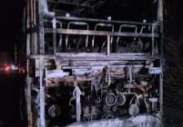 Автобус изгоря на път за Македония, 46 туристи се спасиха