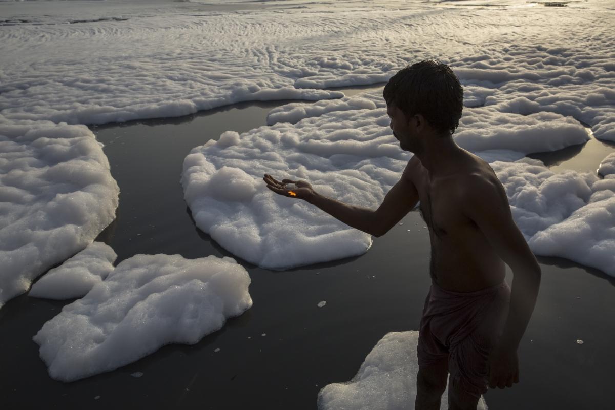 Една от най-замърсените реки в Индия.