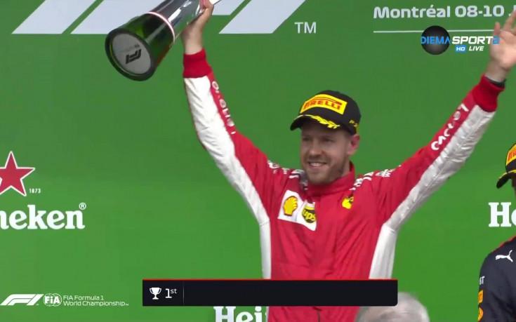 Шампанско за победа №50 в кариерата на Фетел