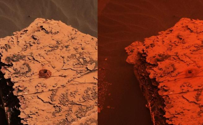 Снимка от марсохода Curiosity, която показва разликите в нивото на слънчевата светлина спрямо преди бурята да започне (вляво) и когато тя е в разгара си на 17-ти юни 2018 г.