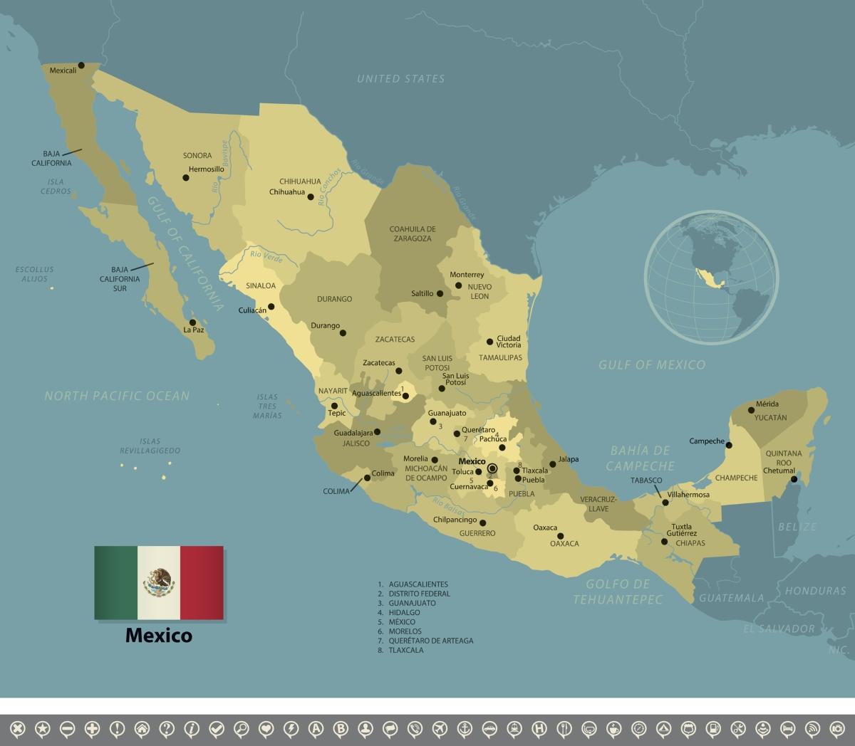 """Названието Мексико идва от две думи с древни ацтекски корени - """"metztli""""(месечина) и """"xictlii""""(пъп). Вероятно това идва от местоположението на страната."""
