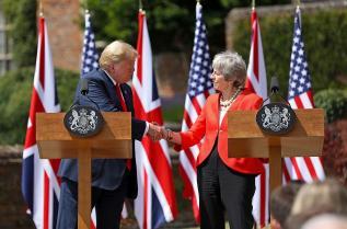 Доналд Тръмп и Тереза Мей в Лондон