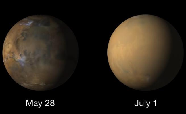 Марс преди и по време на глобалната пясъчна буря