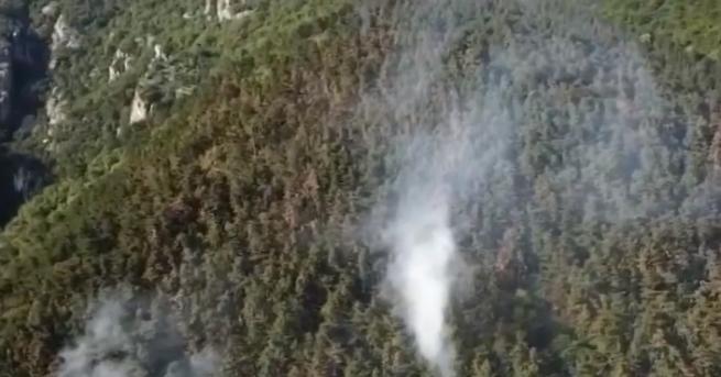Пожарът над Карлово се разгоря отново в късния следобед в